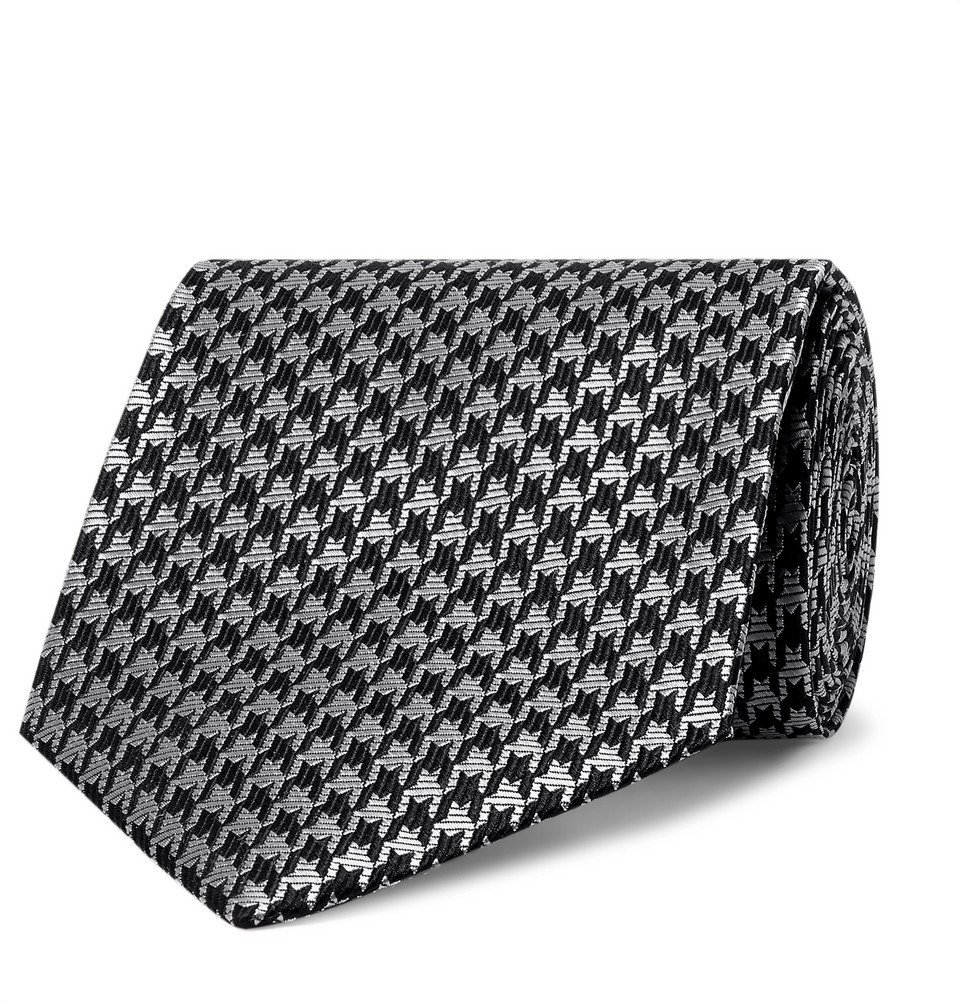 Photo: TOM FORD - 8cm Houndstooth Silk-Blend Tie - Silver