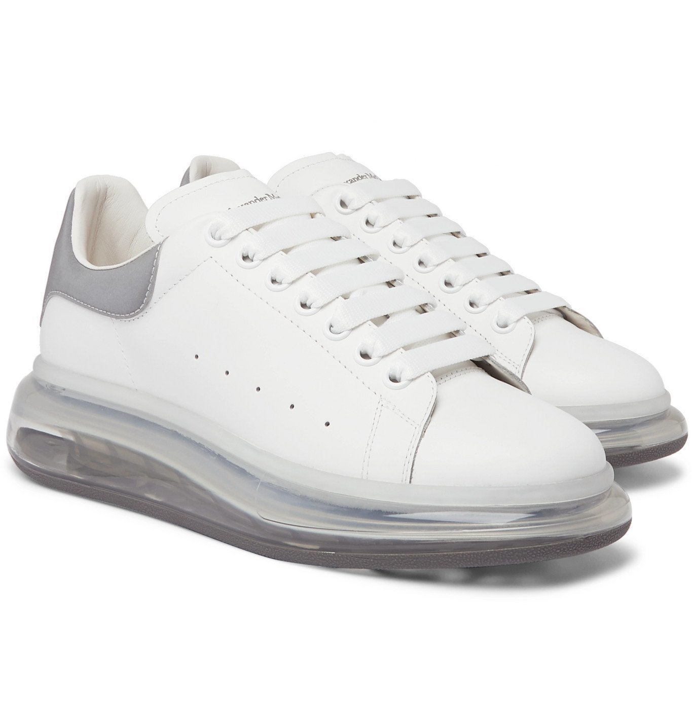 Photo: Alexander McQueen - Exaggerated-Sole Reflective-Trimmed Leather Sneakers - White