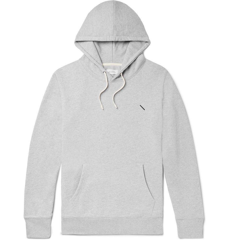Photo: Saturdays NYC - Ditch Slash Logo-Embroidered Mélange Loopback Cotton-Jersey Hoodie - Gray