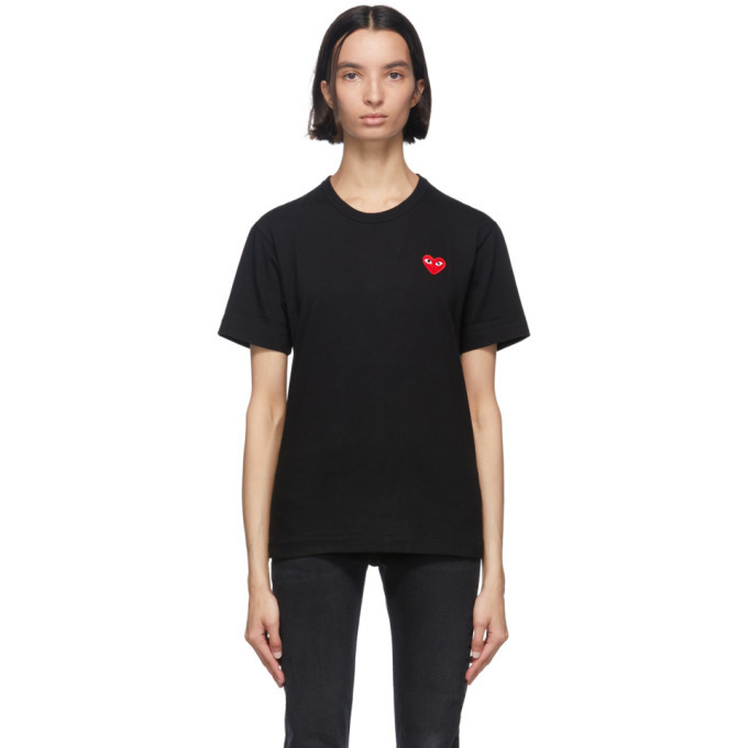Photo: Comme des Garcons Play Black and Red Mens Fit Patch Heart T-Shirt