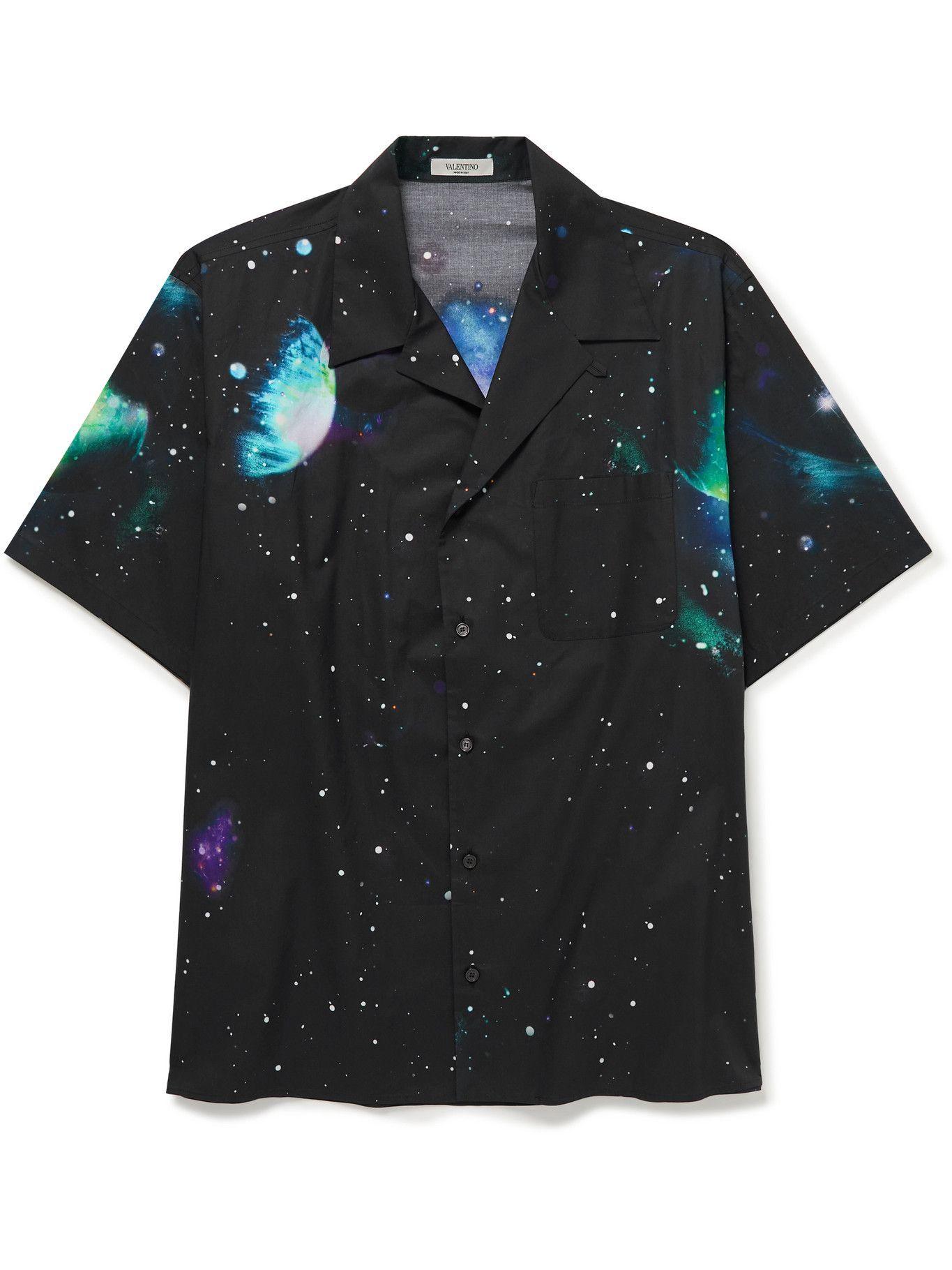 Photo: Valentino - Camp-Collar Printed Cotton-Poplin Shirt - Black
