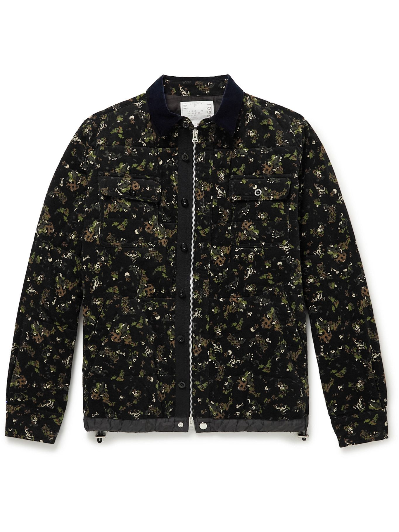 Photo: Sacai - Velvet-Trimmed Quilted Padded Printed Cotton-Corduroy Overshirt - Black