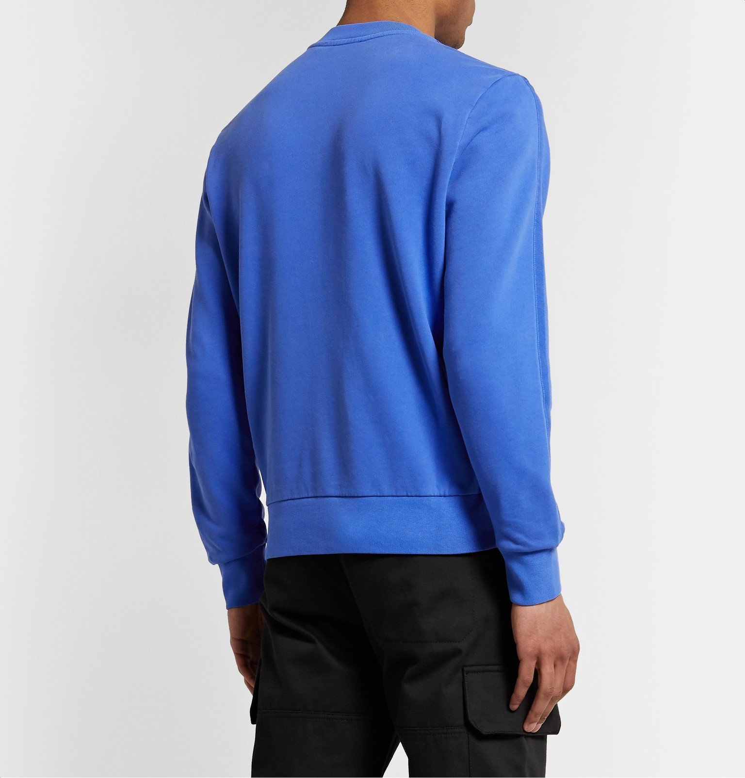Moncler - Slim-Fit Logo-Embroidered Loopback Cotton-Jersey Sweatshirt - Blue