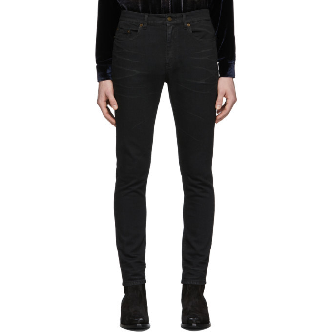 Photo: Saint Laurent Black Coated Skinny Jeans