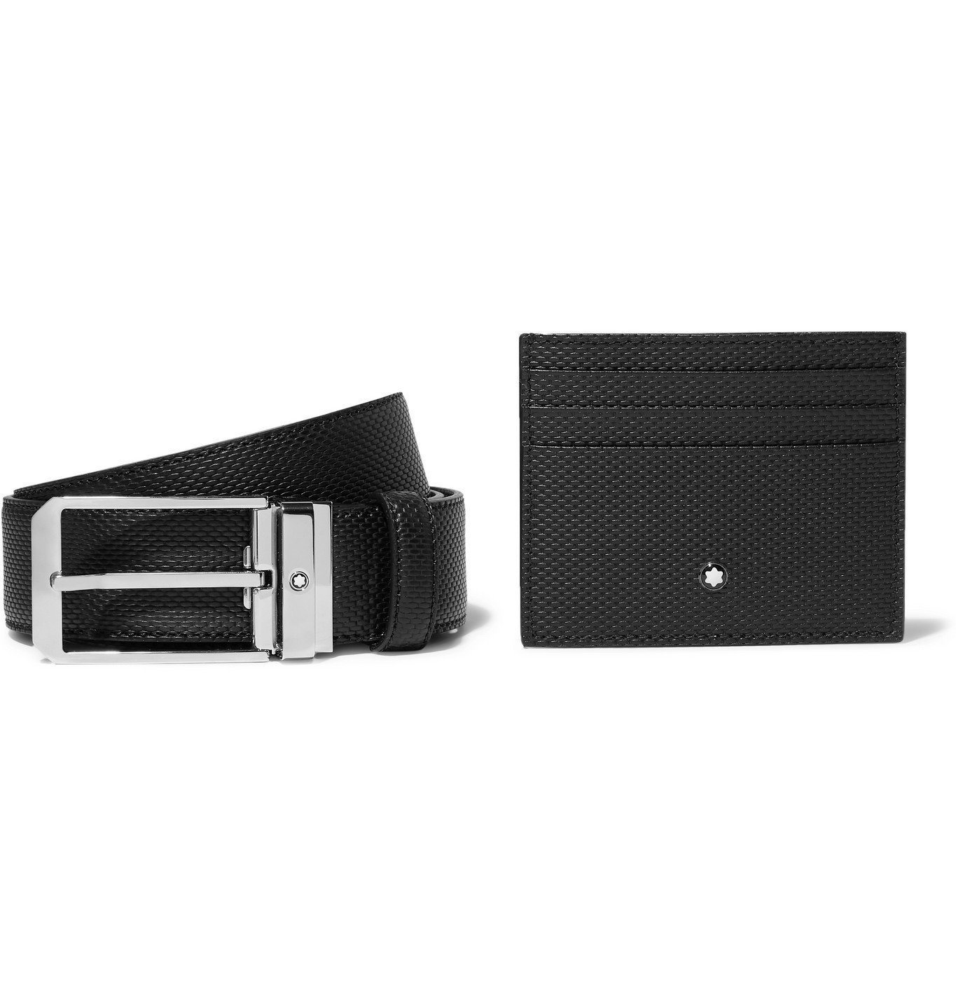 Photo: Montblanc - 3.5cm Woven Leather Belt and Cardholder Gift Set - Black