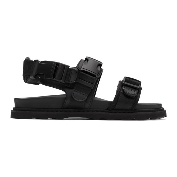 Photo: Bottega Veneta Black Leather and Canvas Camper Sandals