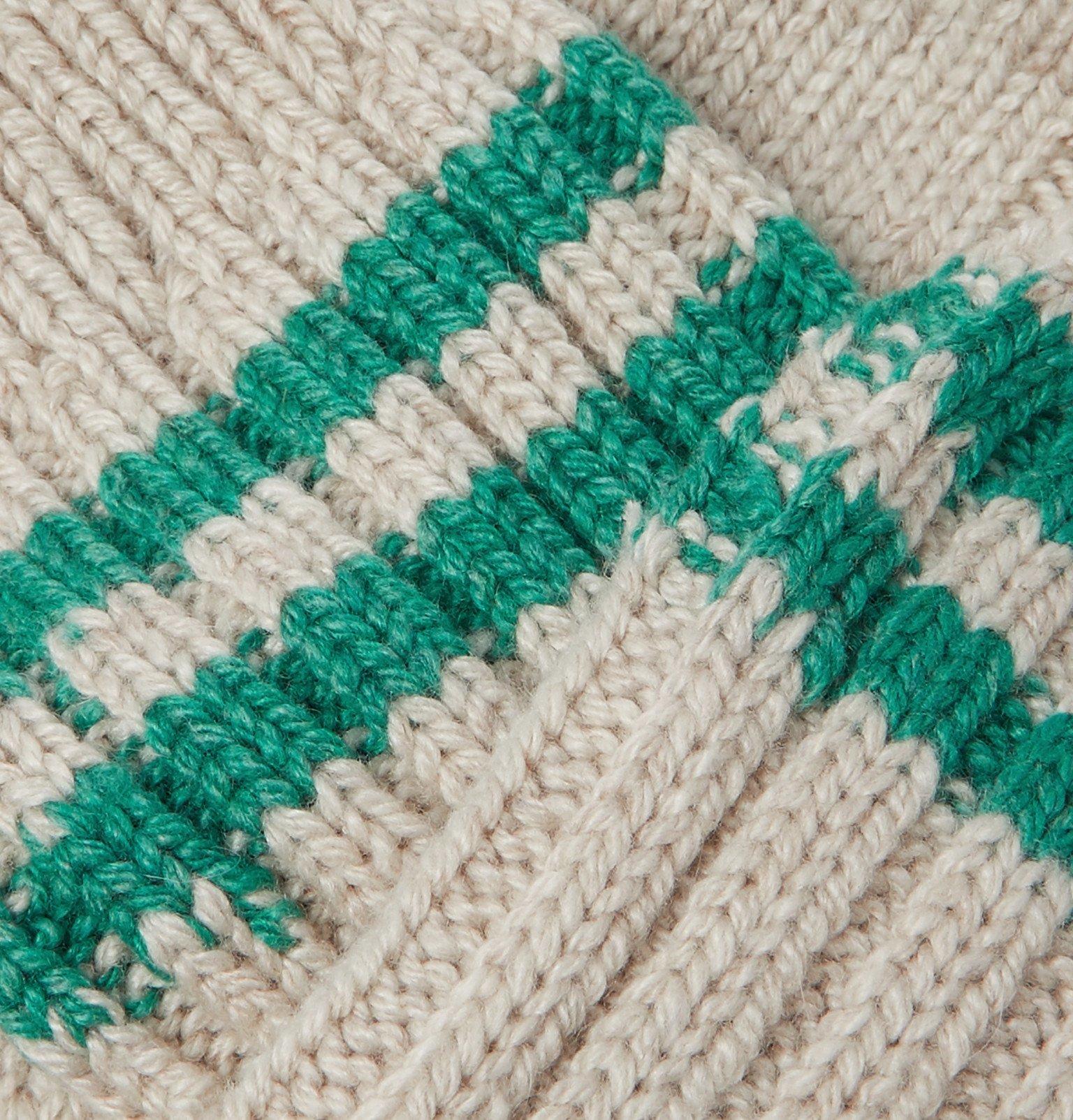 The Elder Statesman - Yosemite Ribbed Striped Cashmere Socks - Neutrals