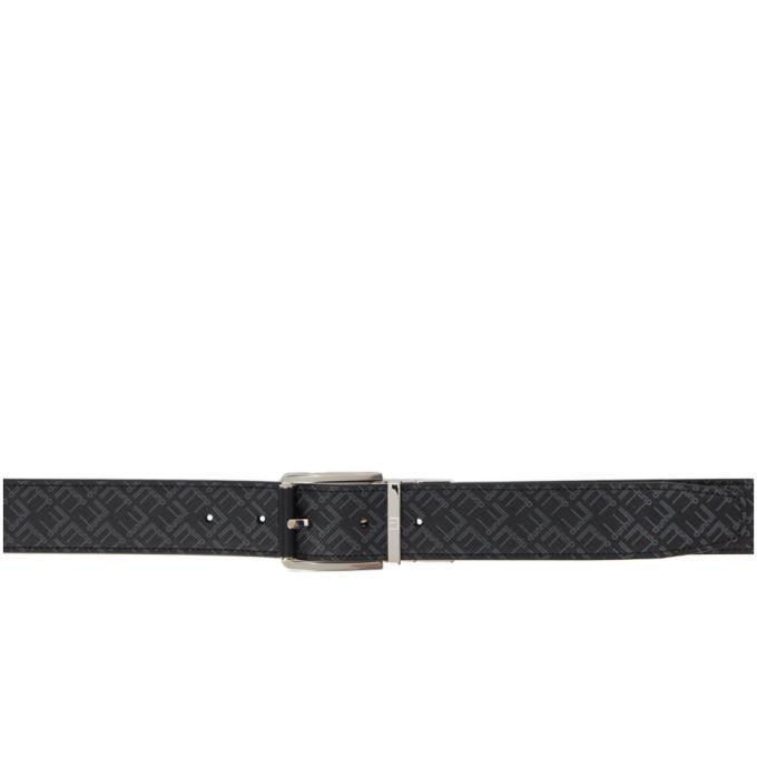 Dunhill Reversible Black Logo Roller Buckle Belt