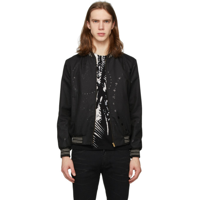 Photo: Saint Laurent Black Galaxy Teddy Bomber Jacket