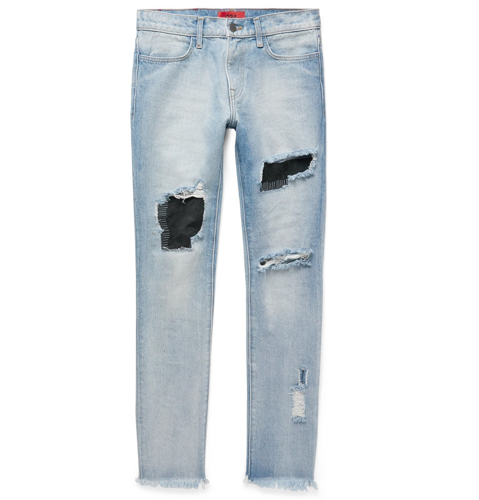 Photo: 424 - Skinny-Fit Embroidered Distressed Nubuck-Panelled Denim Jeans - Blue
