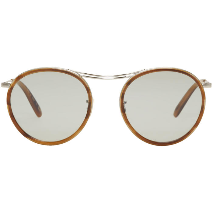 Oliver Peoples Silver and Tortoiseshell MP-3 30th Sunglasses