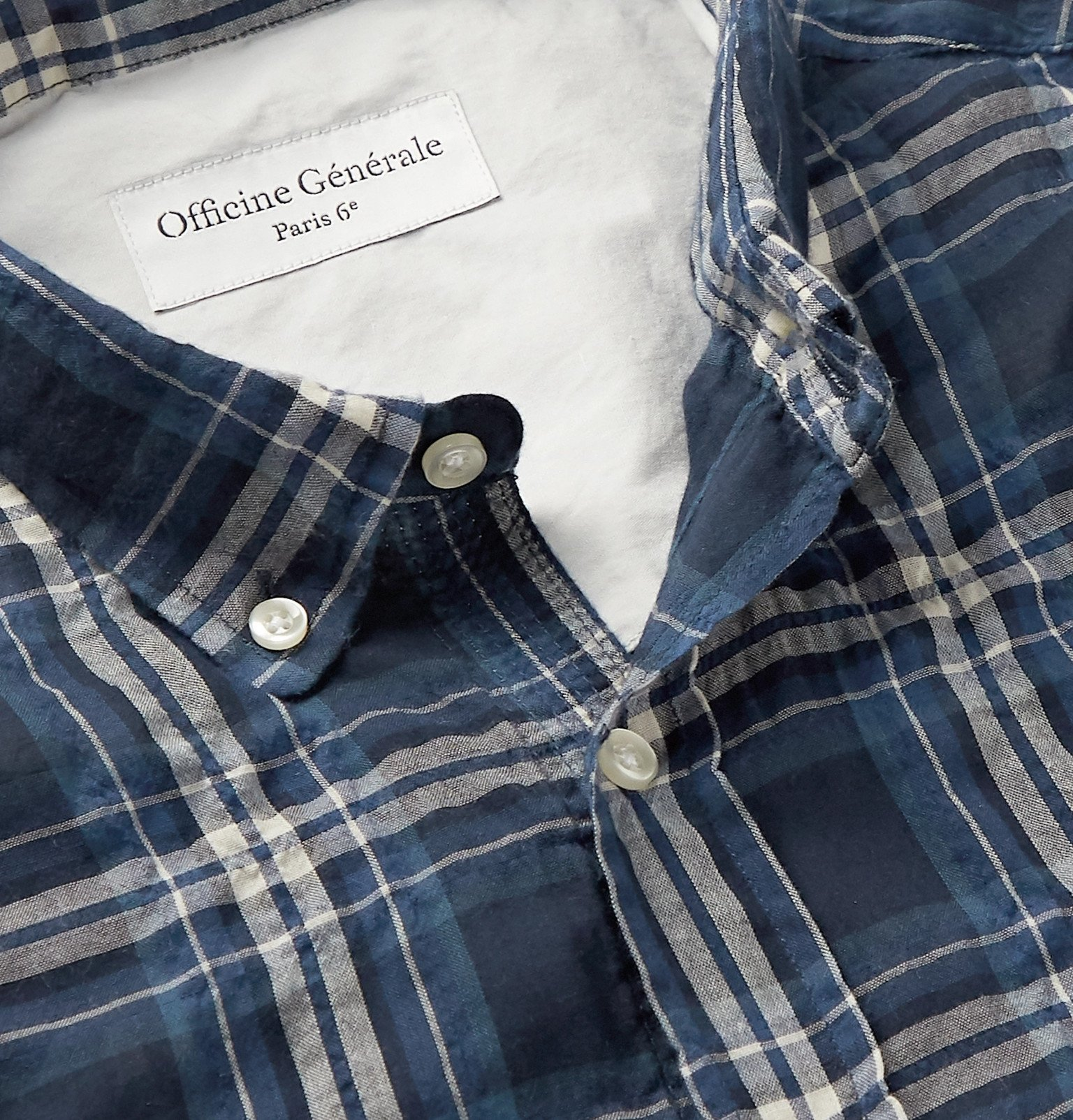 Officine Generale - Button-Down Collar Checked Cotton-Blend Flannel Shirt - Blue