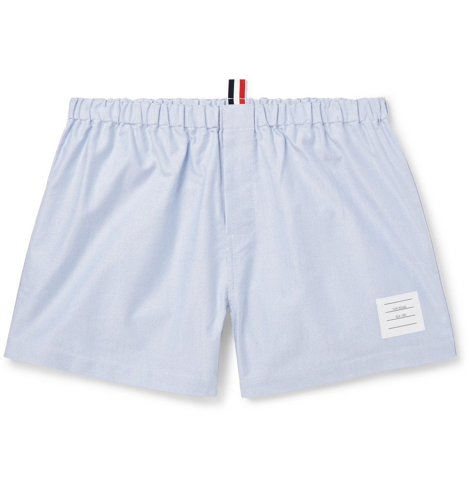 Photo: Thom Browne - Striped Cotton Oxford Boxer Shorts - Blue