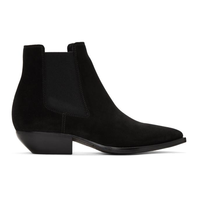 Photo: Saint Laurent Black Suede Pointy Chelsea Boots