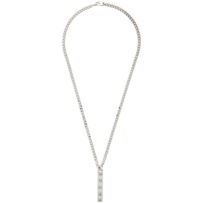 Photo: Gucci Silver Ghost Bar Necklace