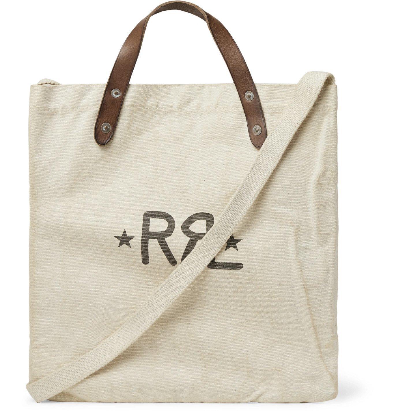 RRL - Leather-Trimmed Logo-Print Cotton-Canvas Tote Bag - Neutrals