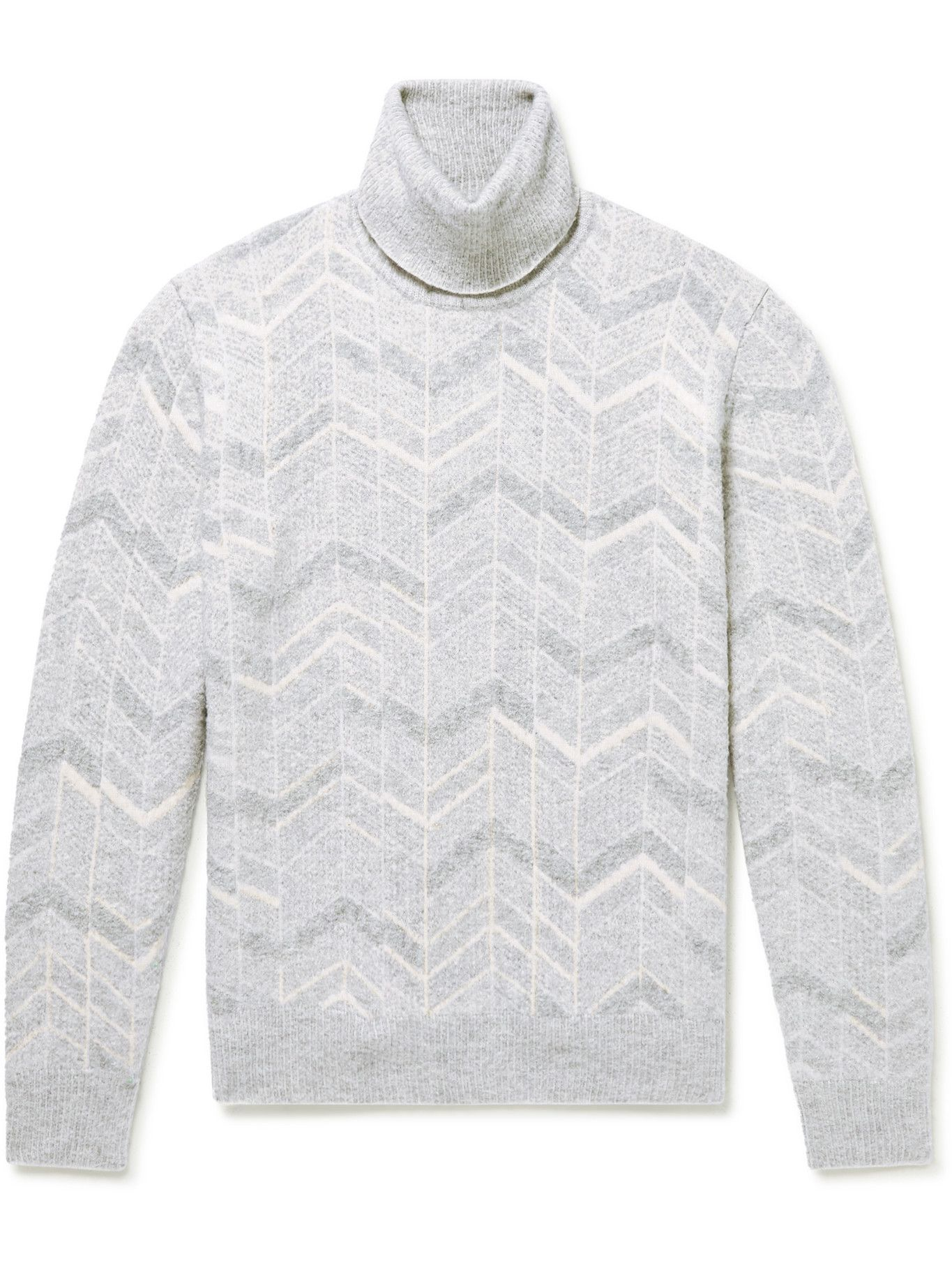 Photo: Ermenegildo Zegna - Cashmere, Wool and Silk-Blend Jacquard Rollneck Sweater - Gray