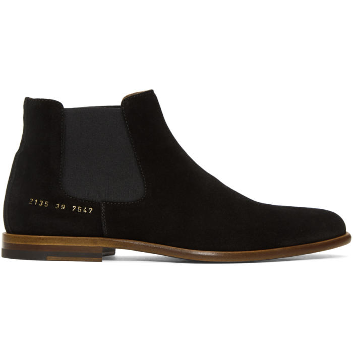 Photo: Robert Geller Black Common Projects Edition Suede Chelsea Boots