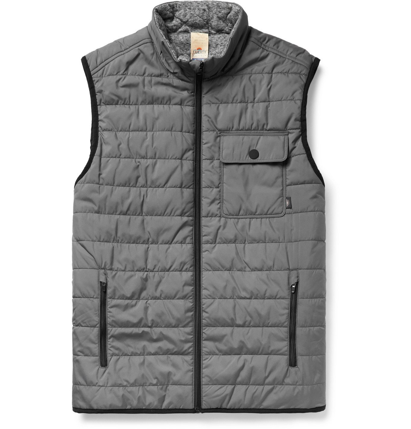Photo: Faherty - Atmosphere Slim-Fit Reversible Quilted Padded Shell and Mélange Jersey Gilet - Gray
