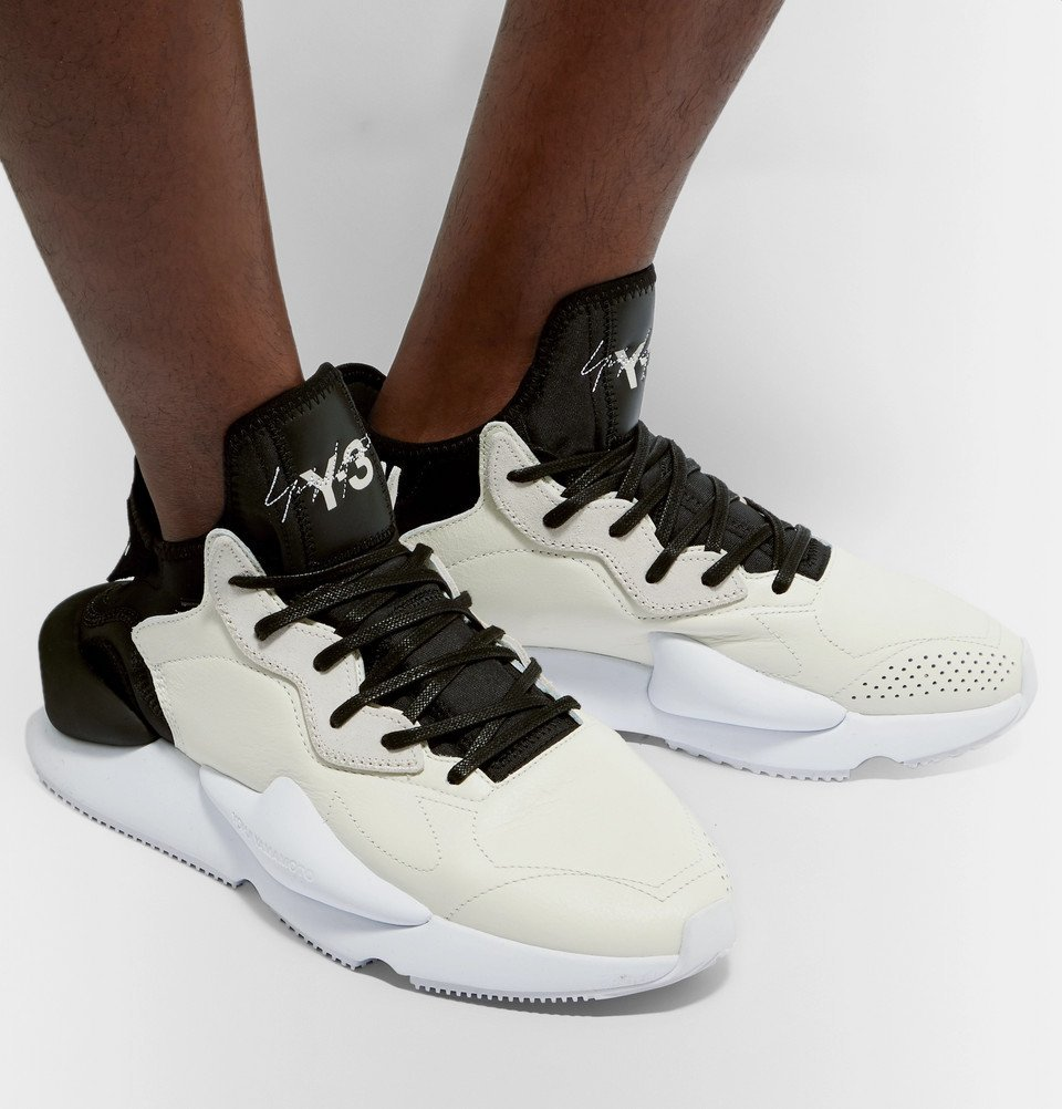 Y-3 - Kaiwa Suede-Trimmed Leather and Neoprene Sneakers - Ecru