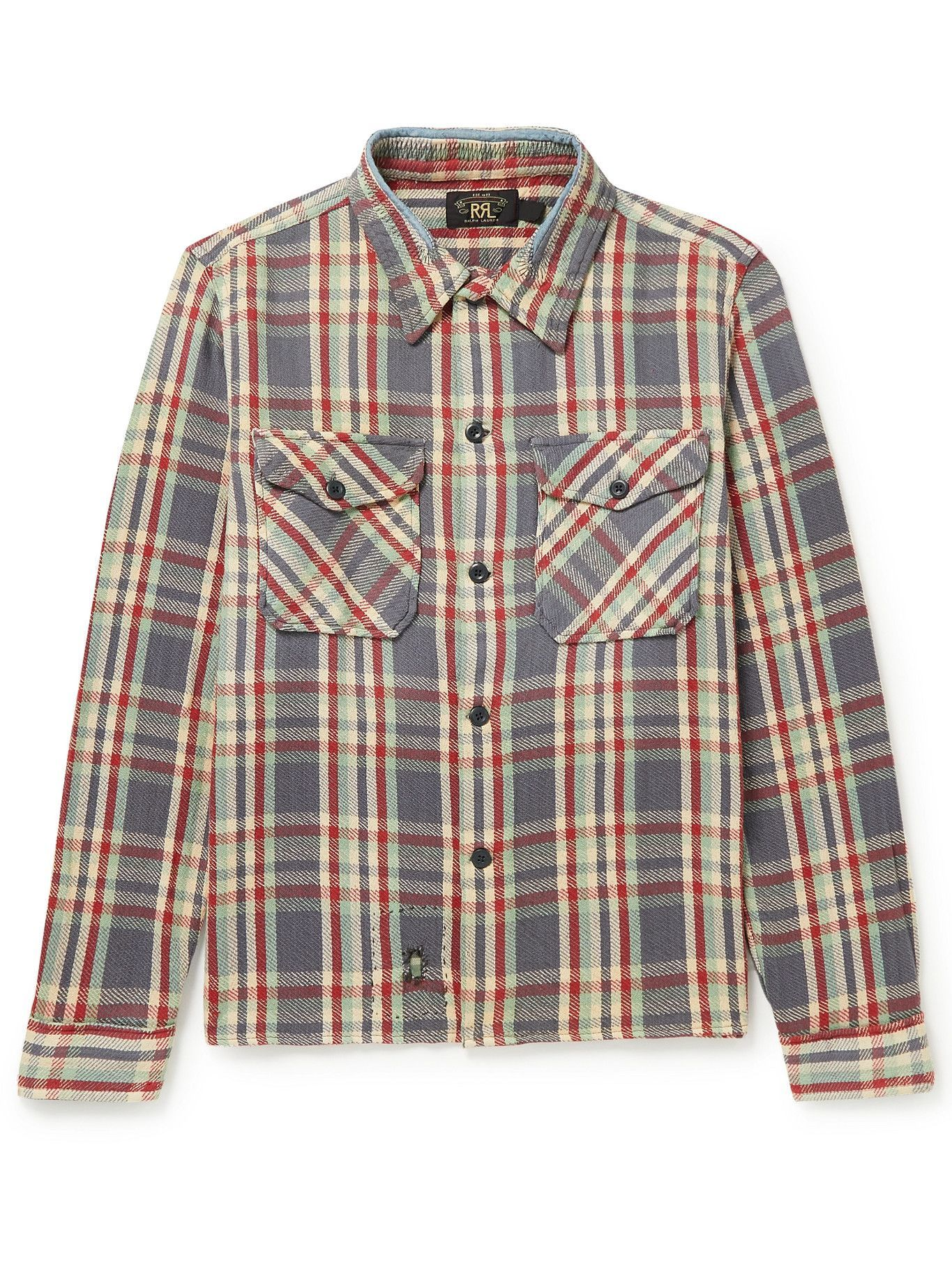 Photo: RRL - Askin Distressed Checked Cotton-Flannel Overshirt - Multi
