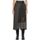 Sacai Black and Beige Wool Glencheck Wrap Skirt