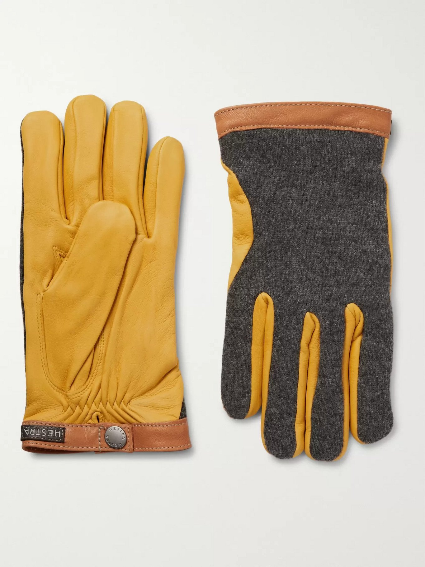 Photo: HESTRA - Tricot-Knit and Leather Gloves - Yellow