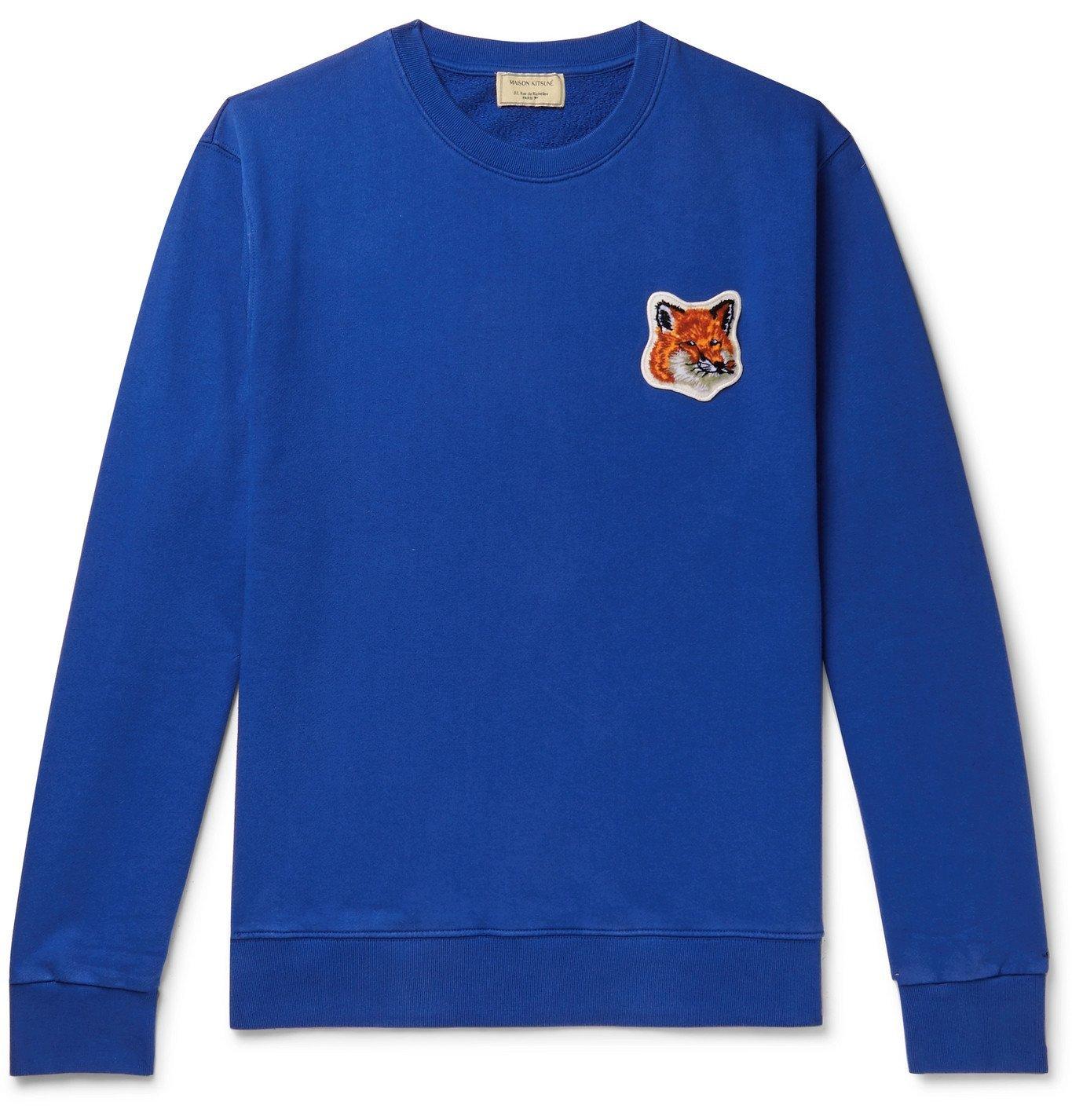 Photo: Maison Kitsuné - Logo-Appliquéd Loopback Cotton-Jersey Sweatshirt - Blue