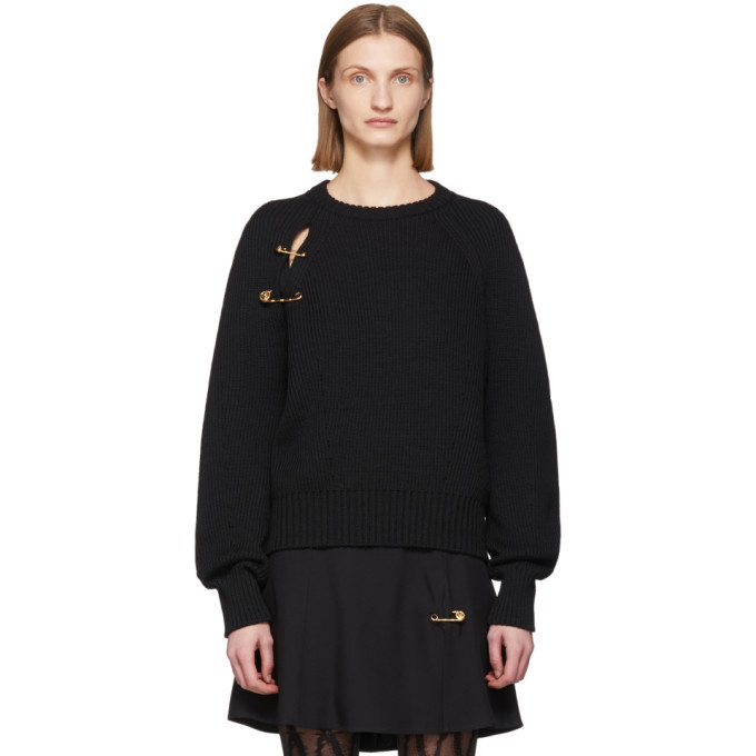Photo: Versace Black Oversized Safety Pin Sweater