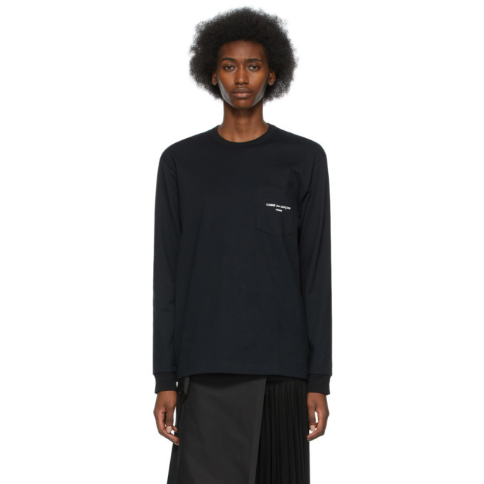 Photo: Comme des Garcons Homme Plus Black Logo Pocket Long Sleeve T-Shirt