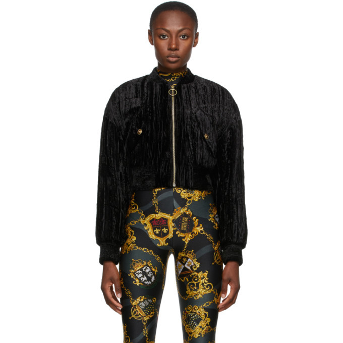 Photo: Versace Jeans Couture Black Crushed Velvet Bomber Jacket