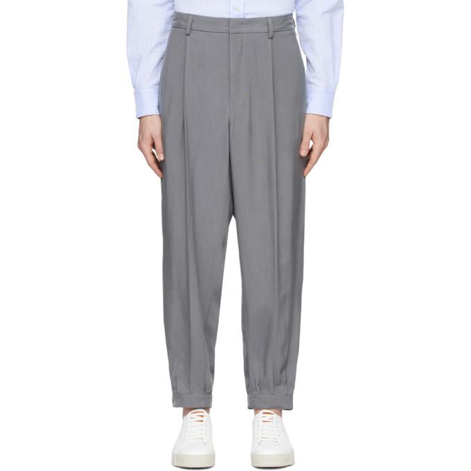 Photo: Giorgio Armani Grey Cupro Enzyme Trousers