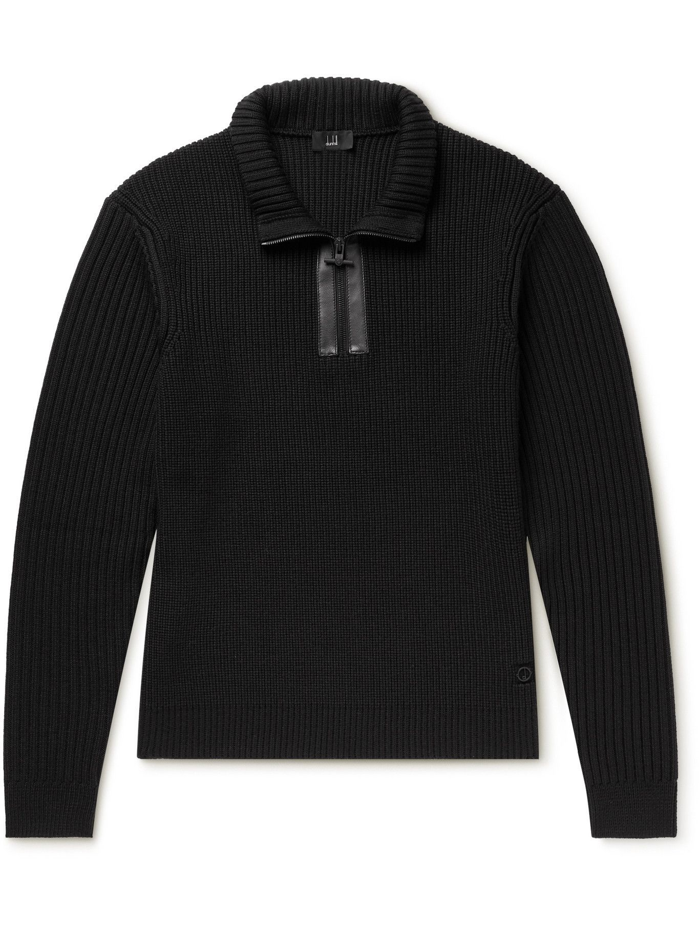 DUNHILL - Leather-Trimmed Ribbed Wool Half-Zip Sweater - Black