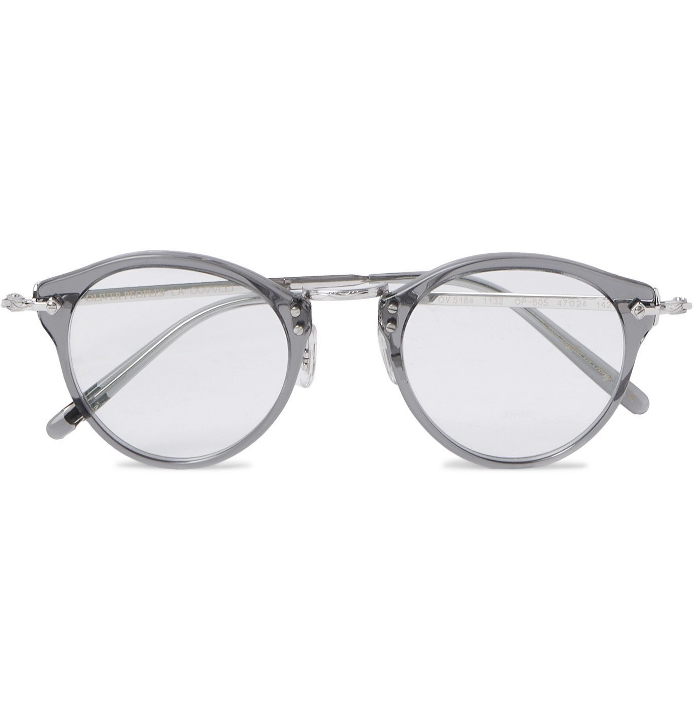 Photo: OLIVER PEOPLES - OP-505 Round-Frame Acetate and Silver-Tone Optical Glasses - Gray