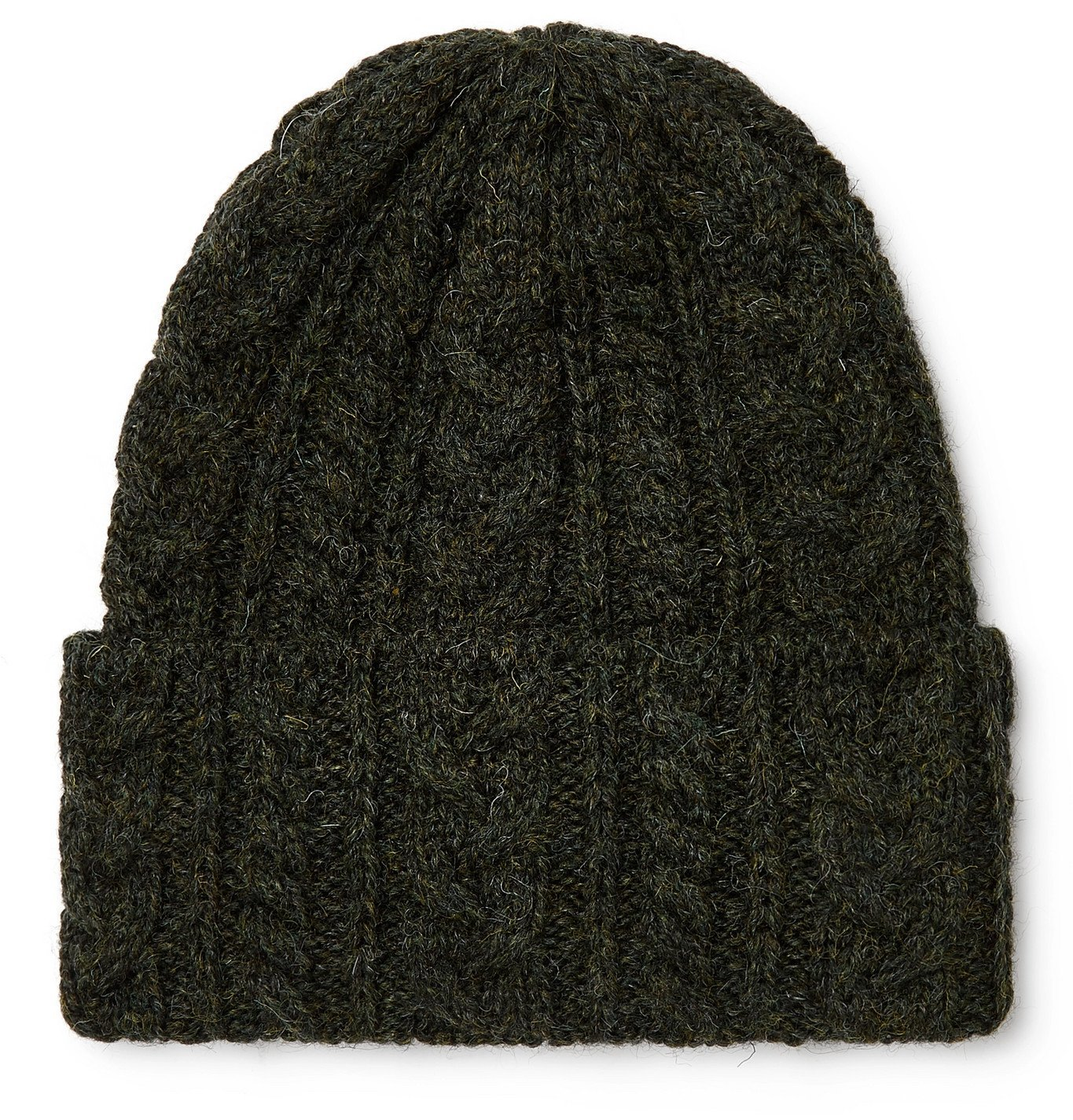 Photo: Drake's - Cable-Knit Wool Beanie - Green