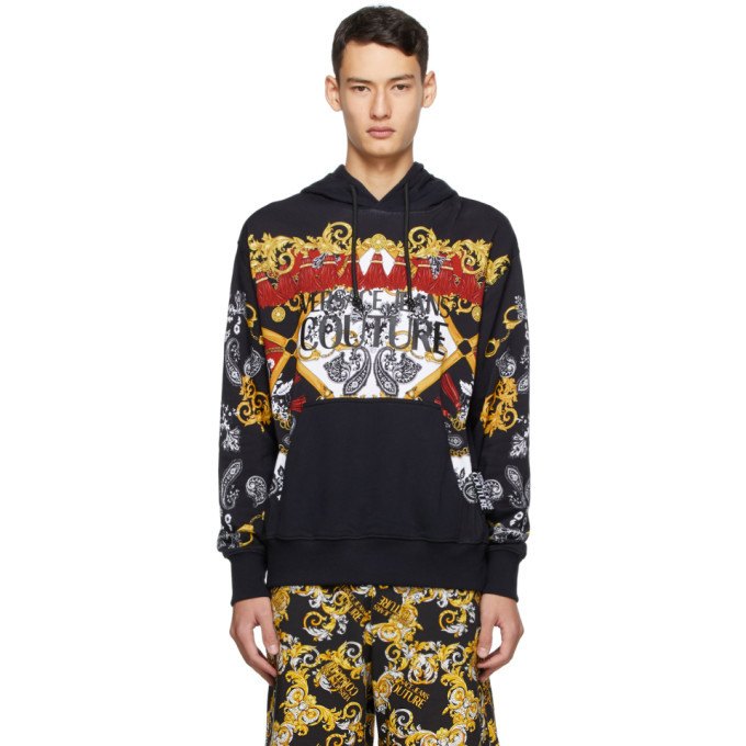 Photo: Versace Jeans Couture Black Paisley Fantasy Logo Hoodie