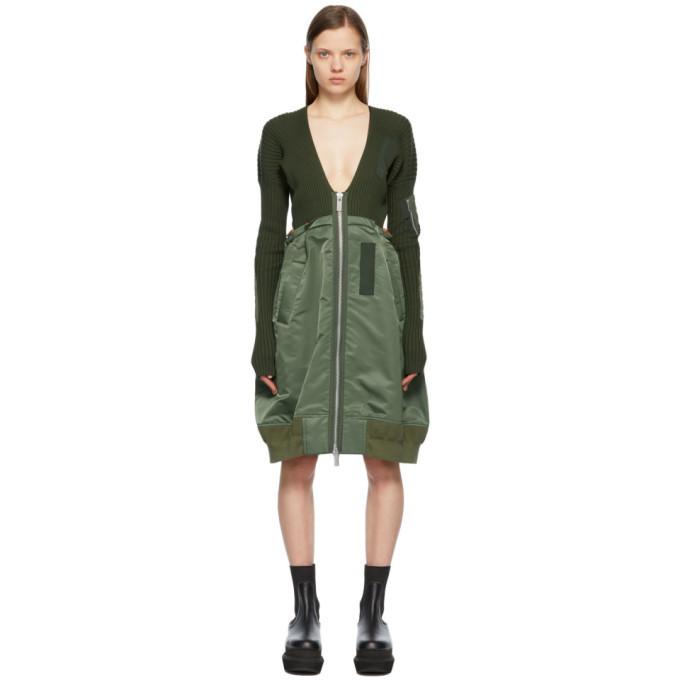 Sacai Khaki Nylon Twill V-Neck Dress