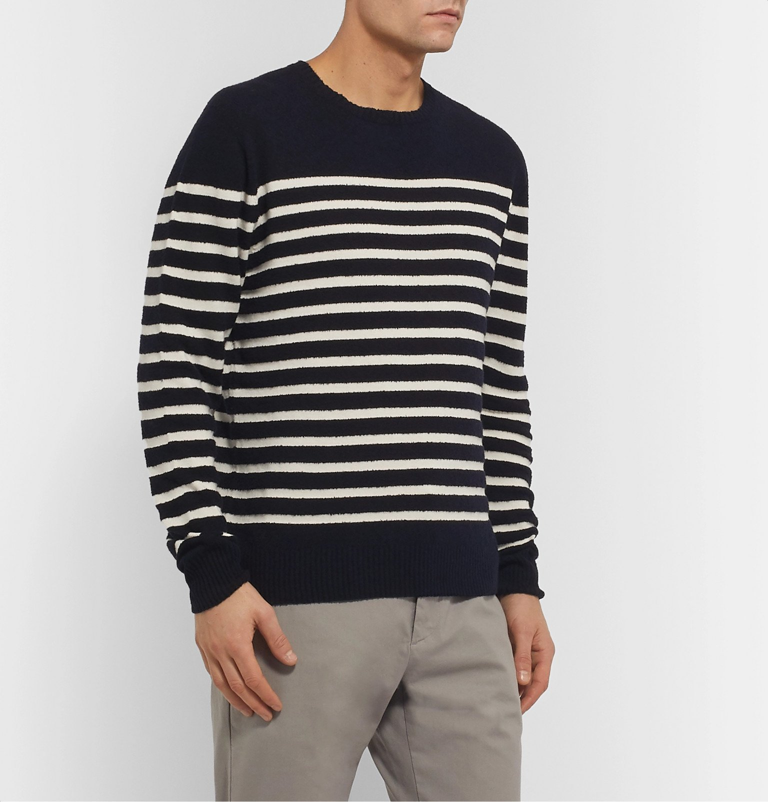 Officine Generale - Ansel Striped Textured-Cotton Sweater - Blue