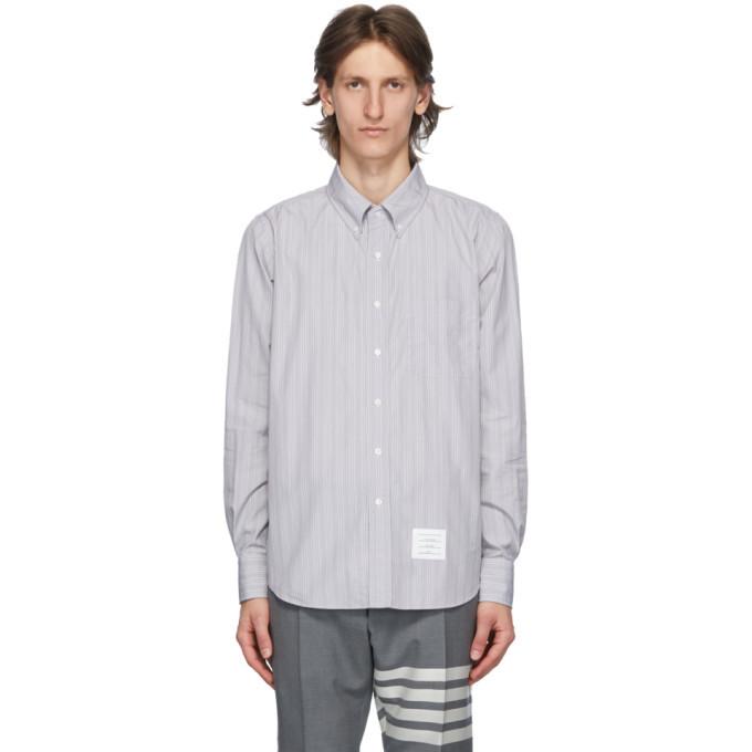 Photo: Thom Browne Grey Poplin Hairline Stripe Shirt