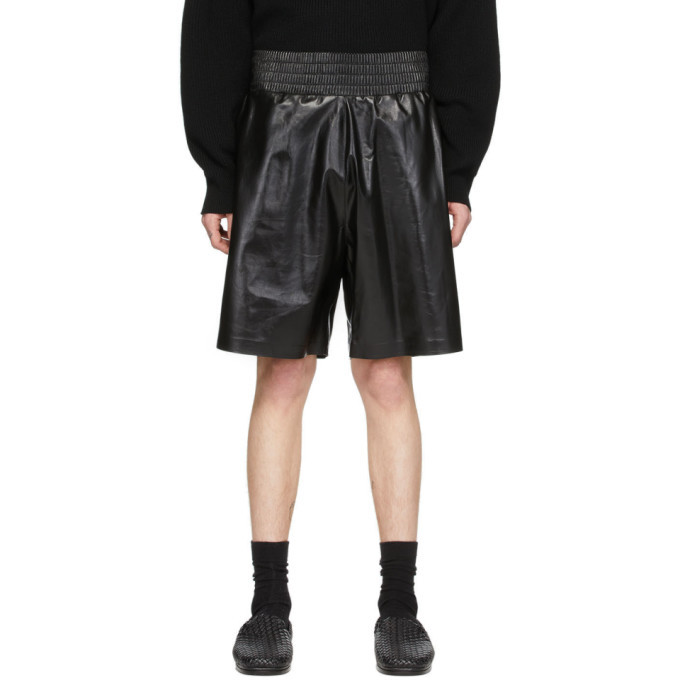 Photo: Bottega Veneta Black Shiny Leather Shorts