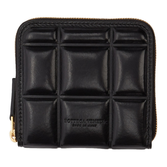 Photo: Bottega Veneta Black Quilted Maxi Zip-Around Wallet