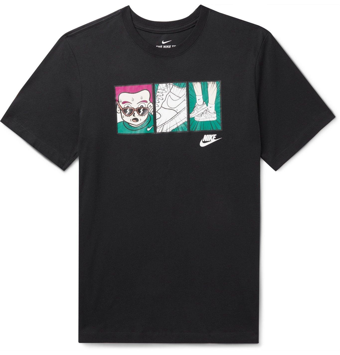 Photo: Nike - Printed Cotton-Jersey T-Shirt - Black