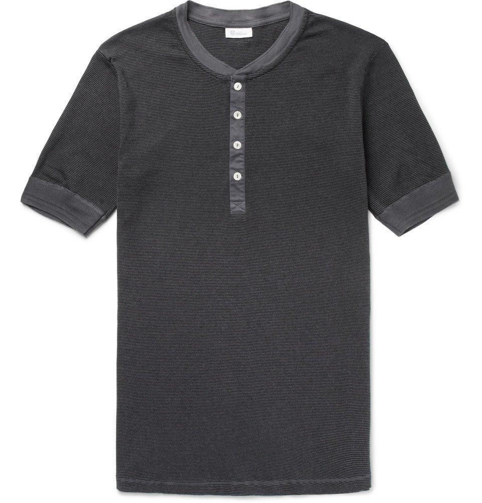 Schiesser - Karl Heinz Striped Cotton-Jersey Henley Pyjama T-Shirt - Men - Storm blue
