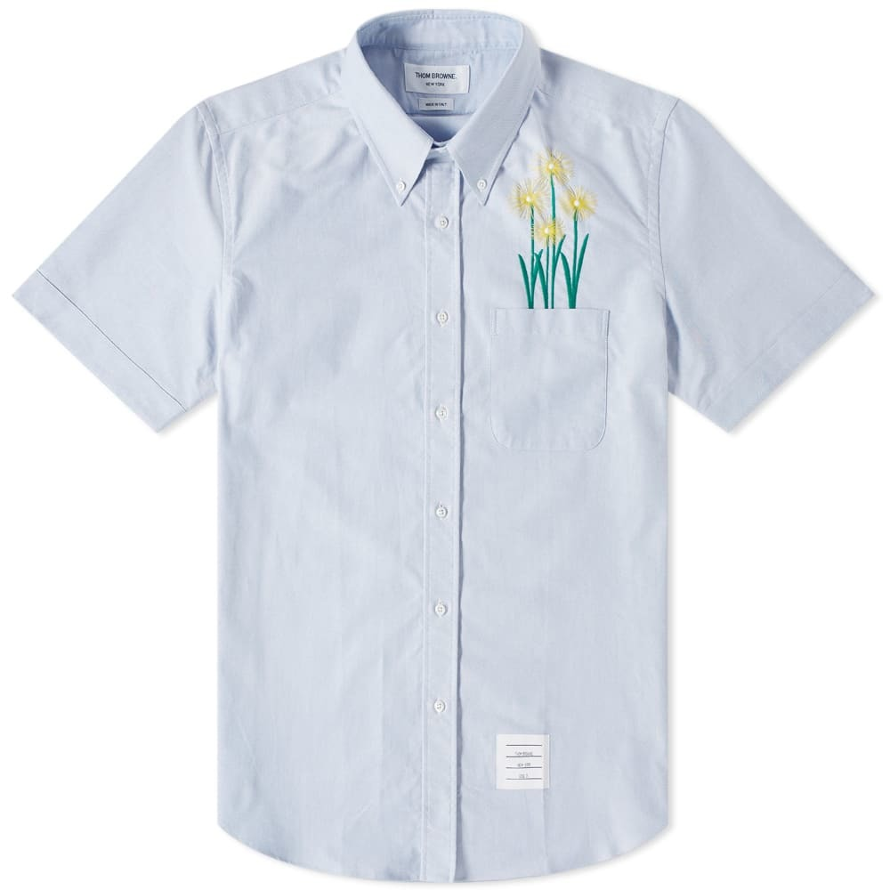 Photo: Thom Browne Short Sleeve Chrysanthemum Embroidered Button Down Shirt Light Blue