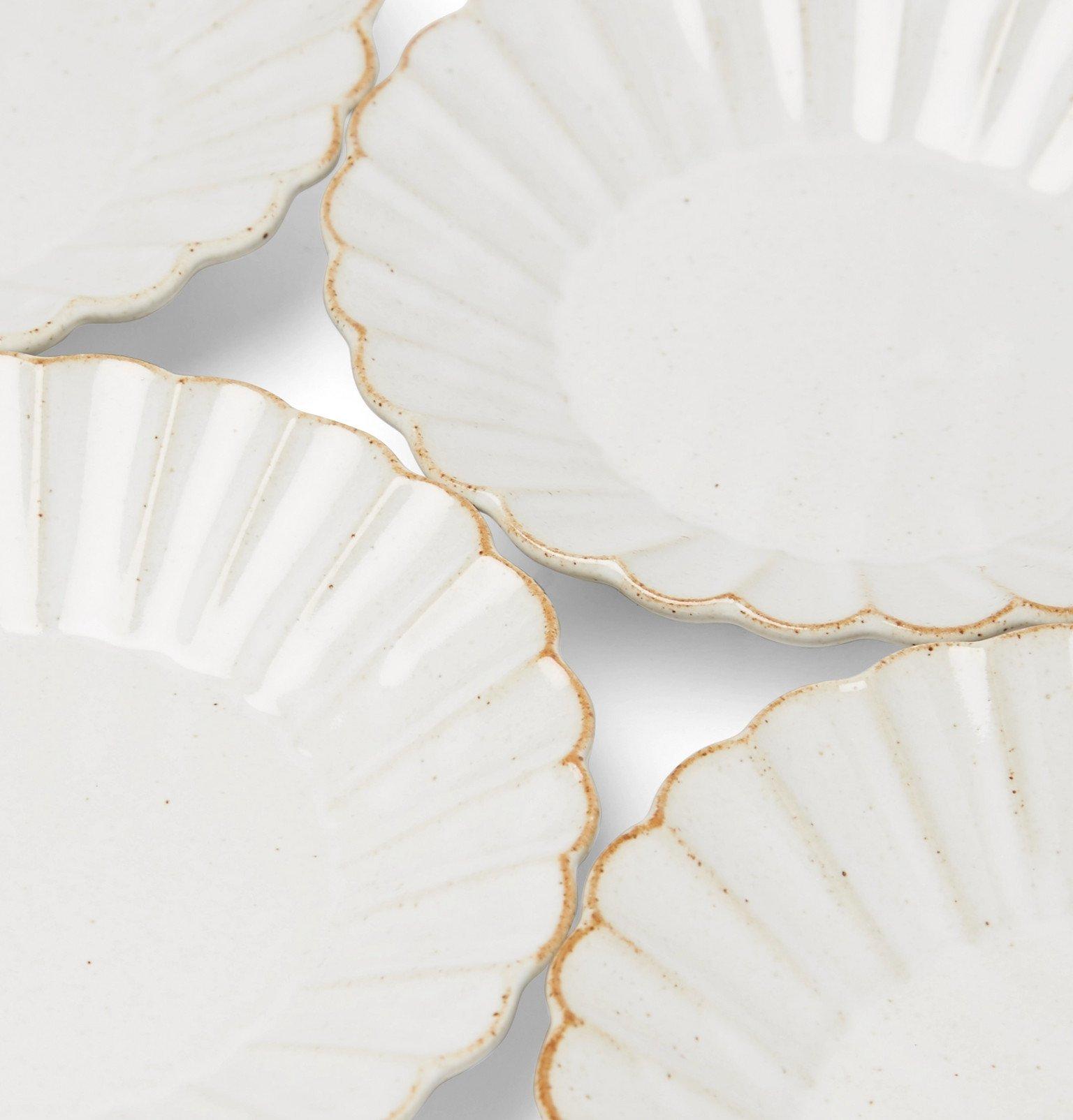 Roman & Williams Guild - Marumitsu M Studio Set of Four Barbarie Earthenware Plates - Neutrals