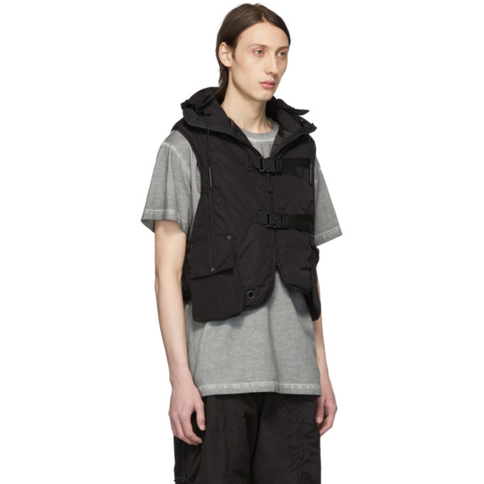 A-Cold-Wall* Black Step Front Padded Crop Vest