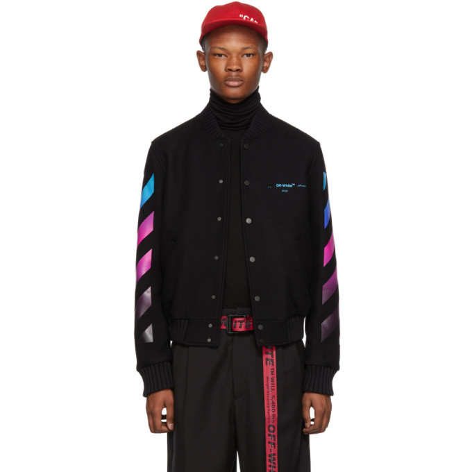 Photo: Off-White Black Gradient Diagonal Bomber Jacket
