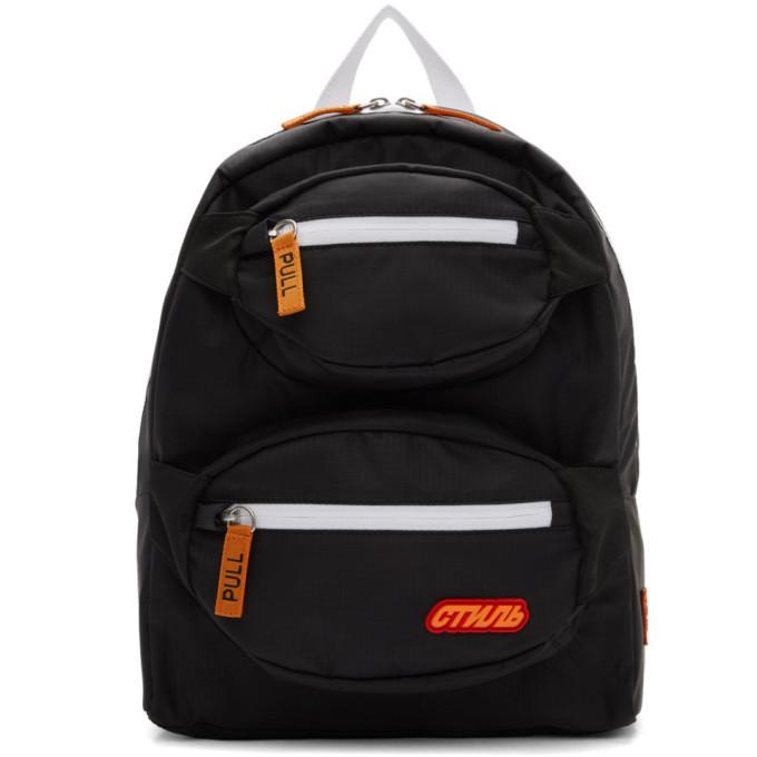 Photo: Heron Preston Black and Orange Double Padded Style Backpack