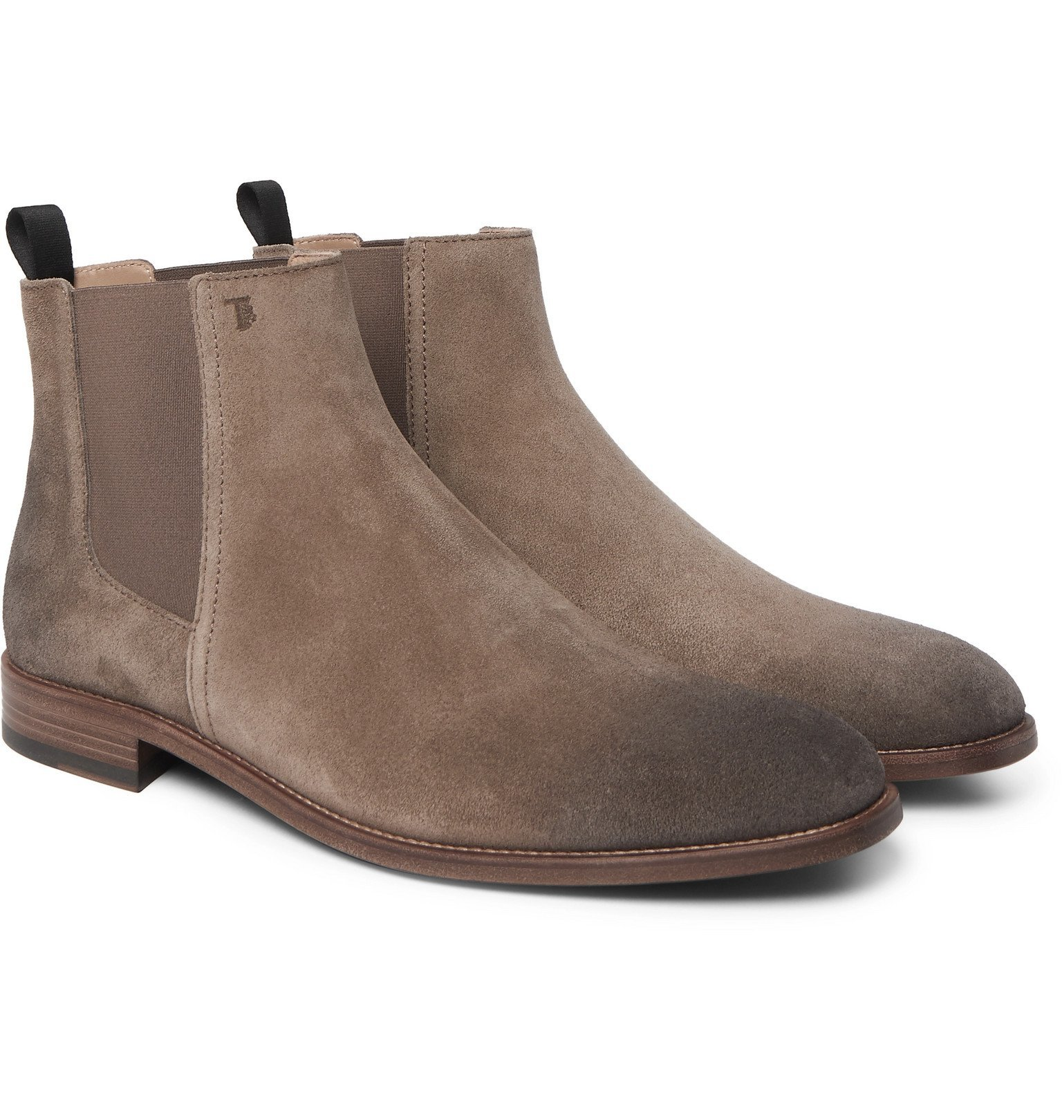 Photo: Tod's - Suede Chelsea Boots - Gray
