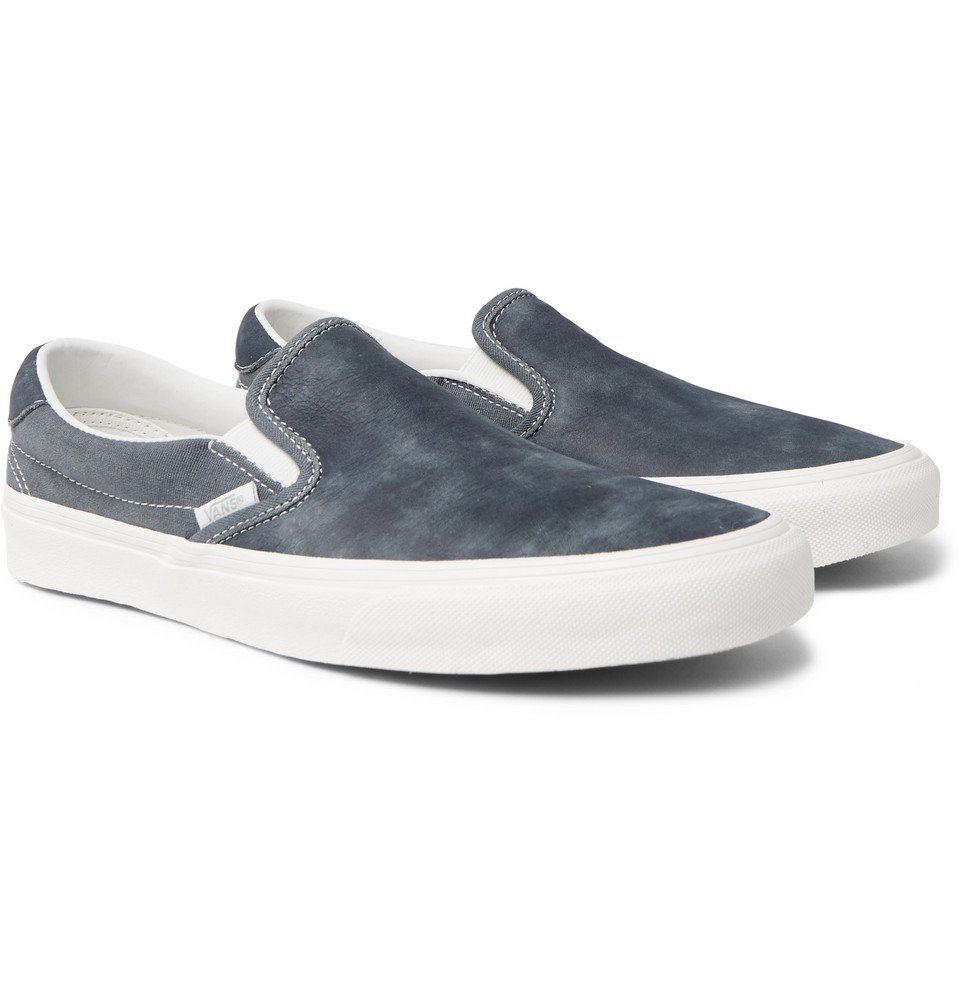 Photo: Vans - OG Classic LX Brushed-Nubuck and Canvas Slip-On Sneakers - Gray